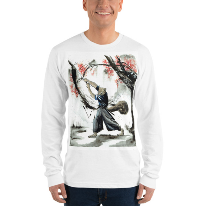 Long sleeve t-shirt with the digital poster of Yoshio among the cherry blossoms
