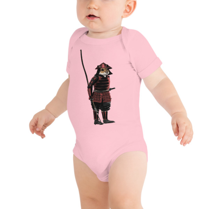 Noboyuki baby onesie, available in black, blue, pink and white in various sizes