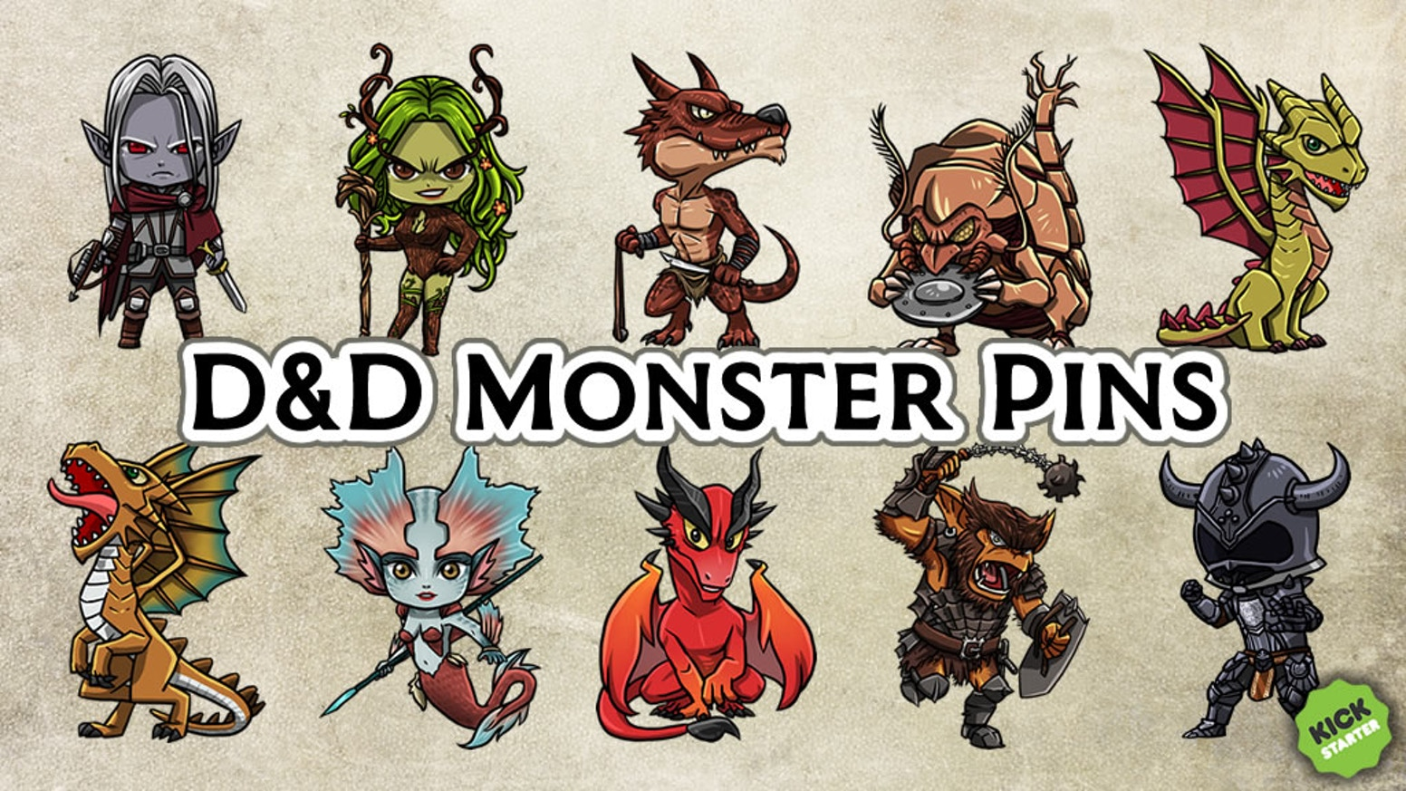 Ten awesome monsters from the world's greatest roleplaying game. Perfect for dice bags, backpacks, jackets, or wherever!