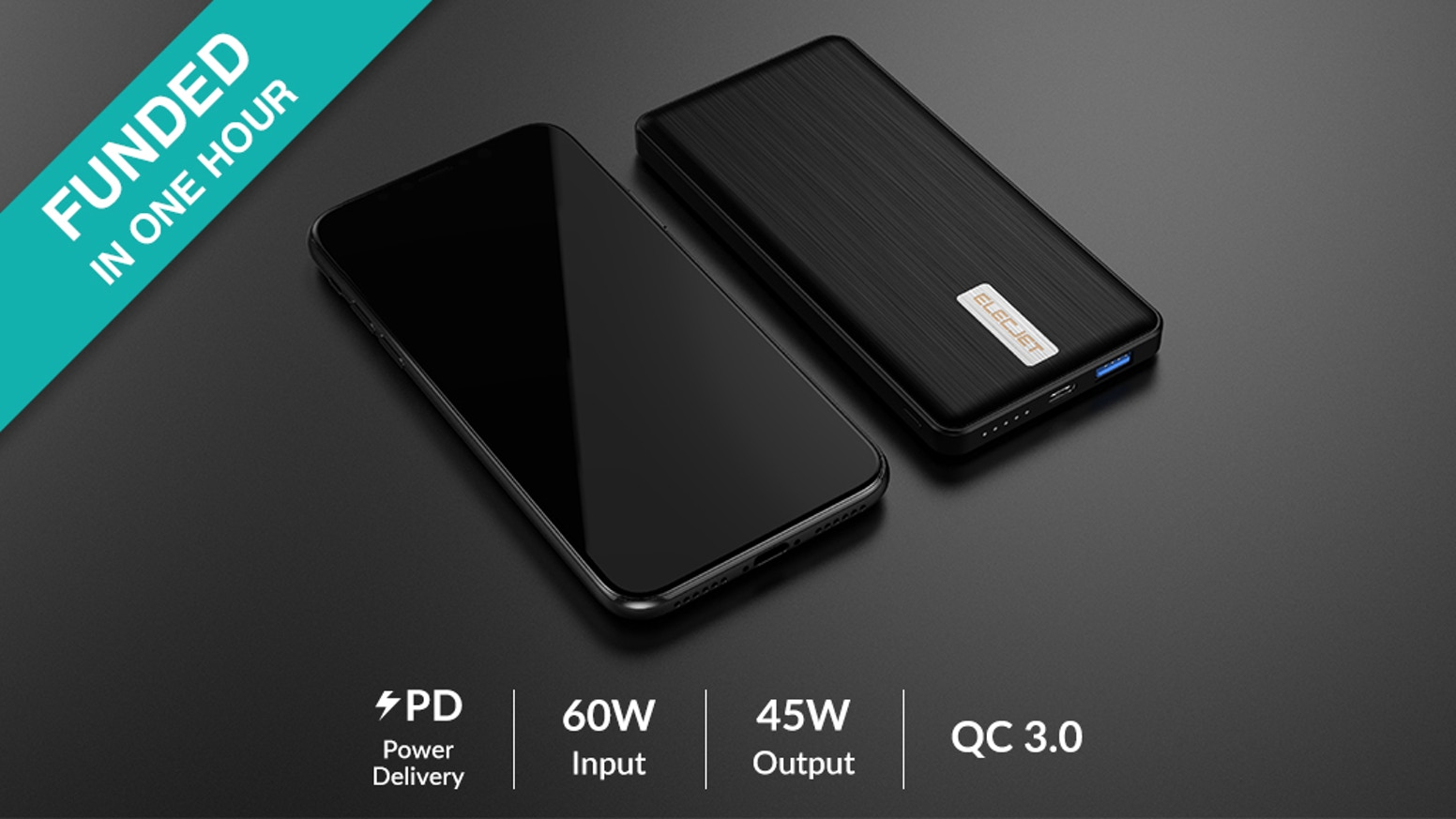 An advanced graphene-enhanced USB-C / A fast charging power bank