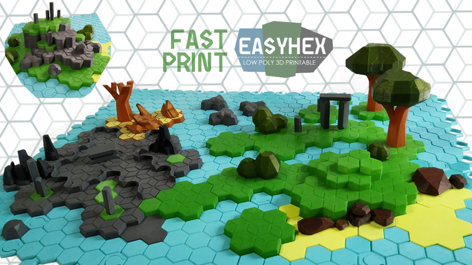 A low poly STL files easy and VERY FAST to print featuring terrain, forest, mountain, sea, islands, snow, lava, desert and dungeons.