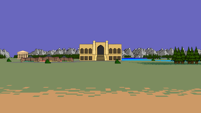 Approaching a Citadel in Bactria. You can hire Advisors in the Caravanserai here.