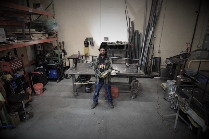 Harrison Nealey in his shop where he is creating our amazing kinetic clock