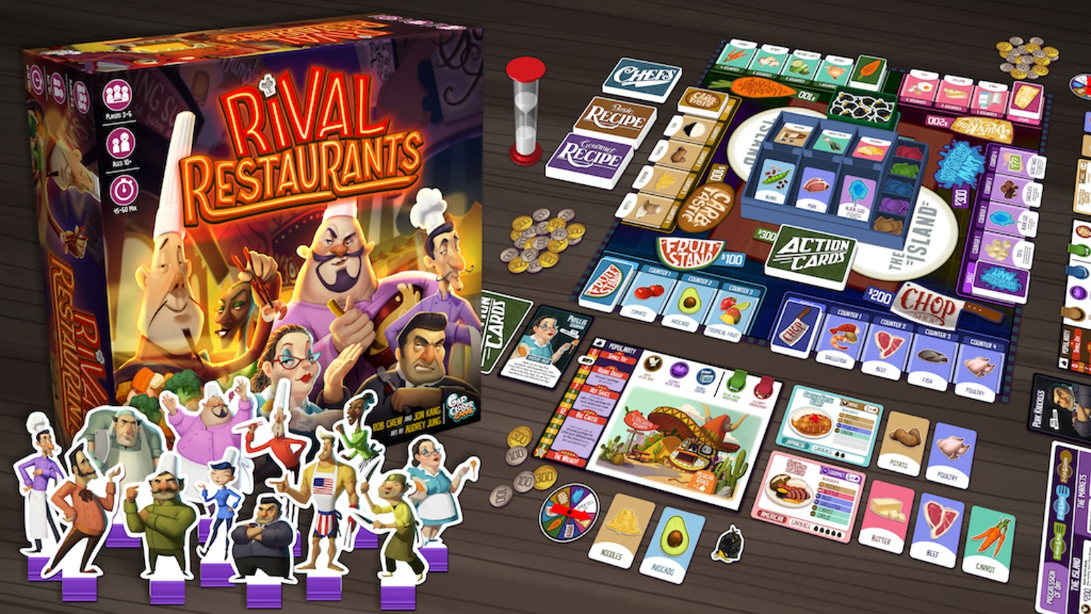 A board game about competitive restaurant owning. Use your chef's power, cook recipes, and lead your restaurant to gastronomical glory.