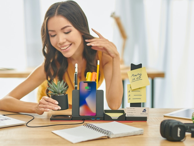 Desk Supplies Organizer with Qi Wireless Charger & USB hub