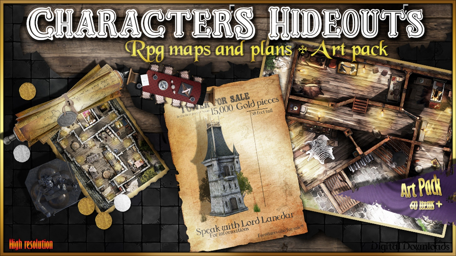 Your Players always wanted to have their own hideout? why not give them a map of that new building? Cool gaming aid for Players and DM