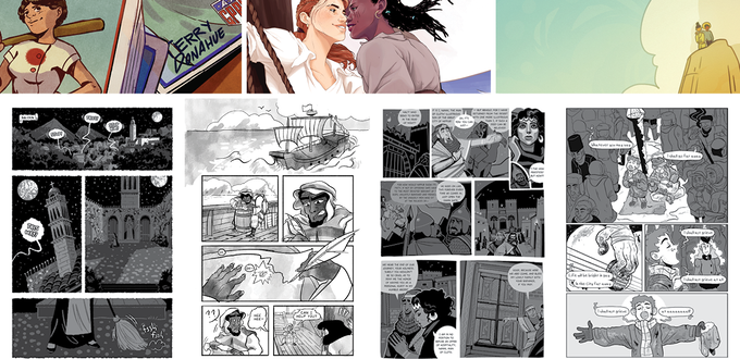 Top row illustrations by: Michelle Gruppetta, Caroline Dougherty, Shannon Kao. Bottom row pages by: G.C. Houle & Taylor Robin, Meg Coates, Ahueonao, Alan Capes & Shauntae Ball