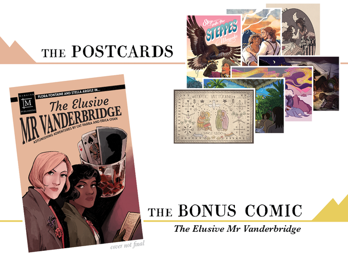 Postcards by Ayanna Johnson, Dante Luiz, Grace Park, Imas Esther, Ingram, Noella Whitney, Val Wise; comic by Erica Chan & Cat Parra