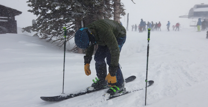 Sub zero temps and blowing snow? No prob. Buckle up, we're going skiing. (Product testing in a blizzard, Color: Men's Khombu Green)