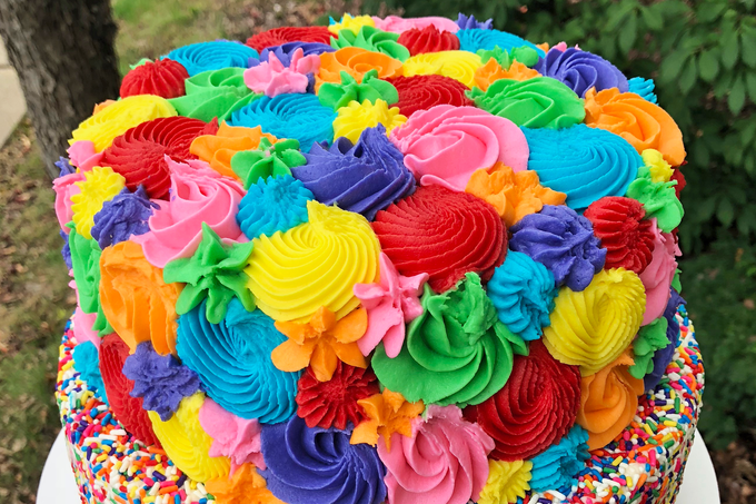 Two-Tier Rainbow Overload Cake for a 4th Birthday Party