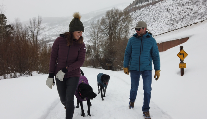 Taking the dogs out in sub zero temps where even they need down jackets (Colors: Women's Wine Tasting and Men's Corsair Blue)