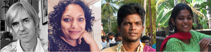 Scriptwriters John and Roanna. Actors Vinu and Parshathy.