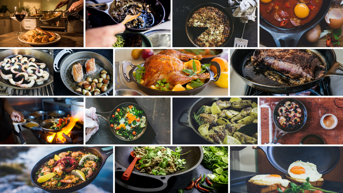 Lifestyle shots of some of our AUS-ION™ wrought iron pans previously launched here on Kickstarter.