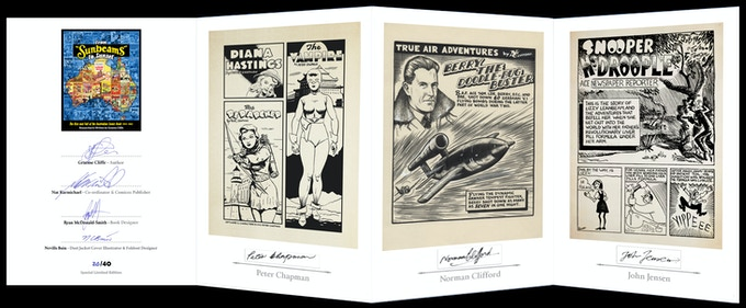The fold out installation in the Special Limited Editon (limited to only 40 copies), signed by Australian past comic luminaries....