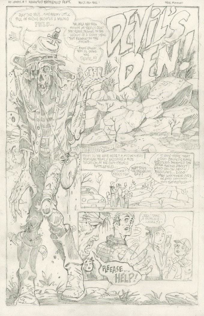 Civil War, Gettysburg...HAUNTED DEVIL'S DEN!  (pencil rough)