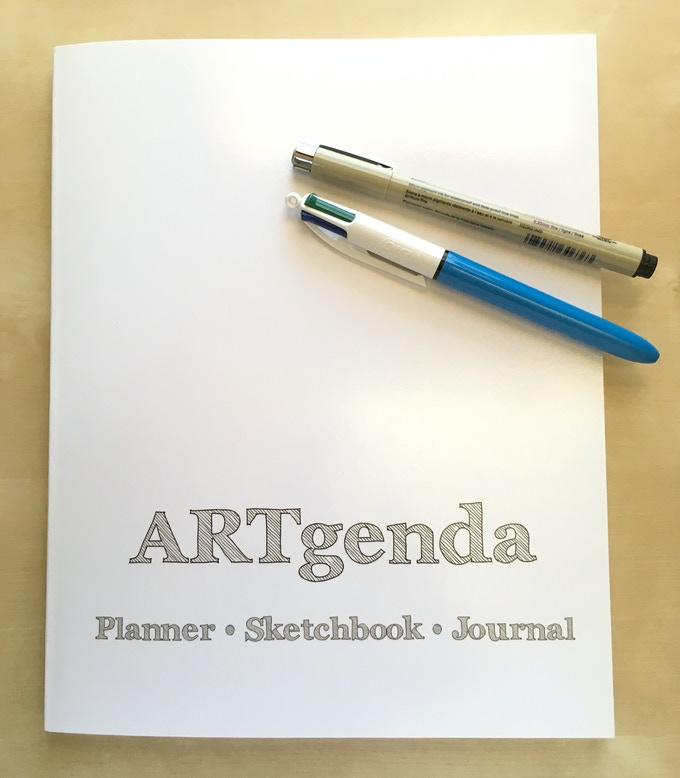 """The sketchbook (planner, journal) is 8""""x10"""", 120 pages, perfect bound."""