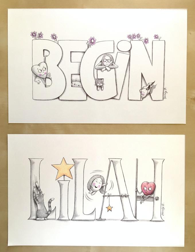 Original Drawing (top) and Custom Original Drawing (bottom)