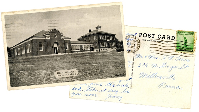 Original Laurel High School postcard, mailed in 1942. For a $75 pledge, you'll receive this postcard plus a signed copy of the book.