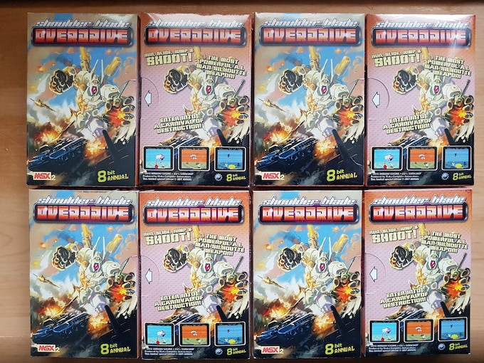 The Epic Shoulder Blade: Overdrive MSX Cartridge, front and back box artwork from Matra Software.
