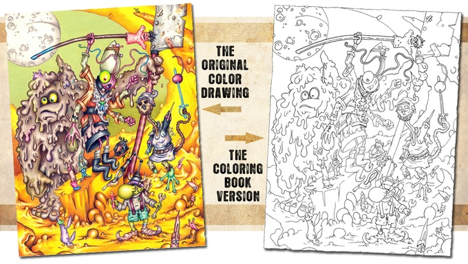 This thing shows what the original illustration looks like compared to the coloring book version.