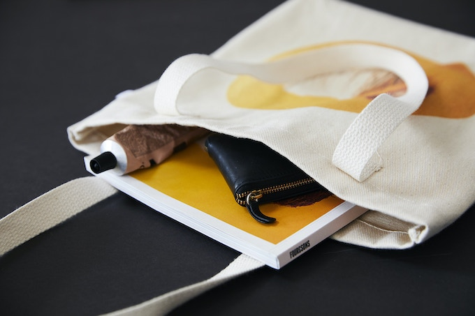 Closeup of Tote Bag showing thickness (items inside bag are not included)