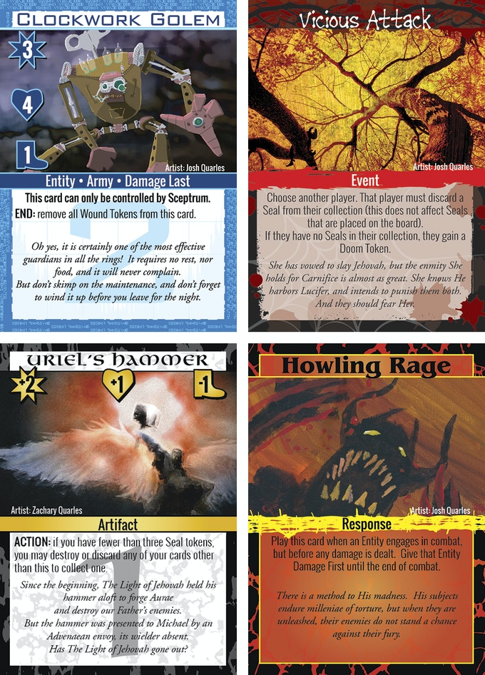 Entities will stay on the board and move into position, Entities will affect the game instantly and leave play, Artifacts will attach to Entities to make them more powerful, and Responses can be played on any turn, as long as the trigger is present.