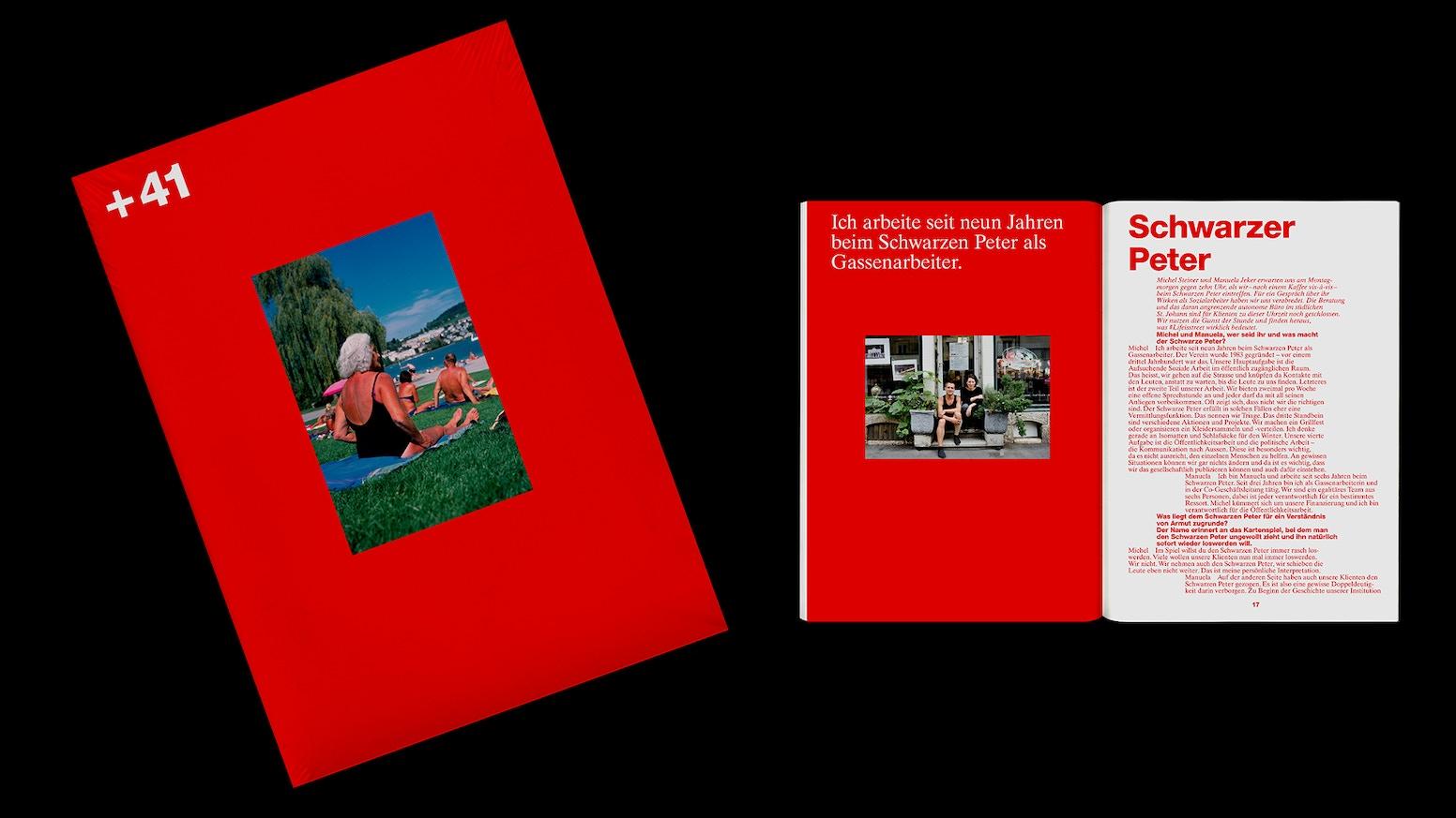 +41 ist eine Schweizer Publikation der Onlineplattform wiewaersmalmit.ch, die jährlich kostenlos erscheinen soll – mit Interviews, Fotostrecken und Texten rund um Alltagskultur und Menschen.