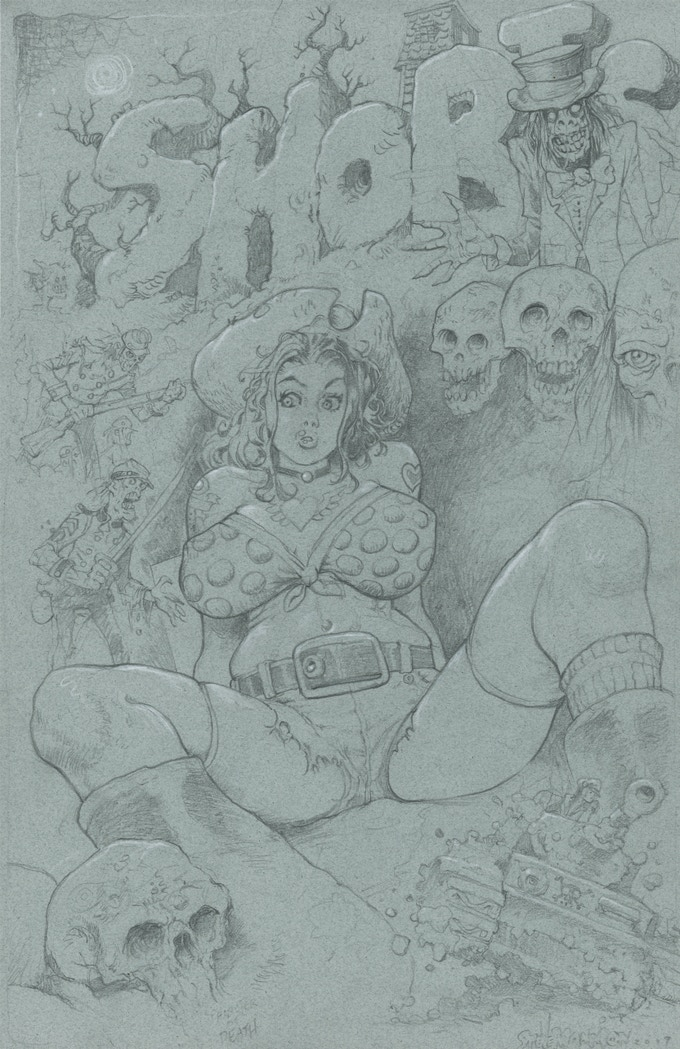 Pencil Cover Rough on blue paper.