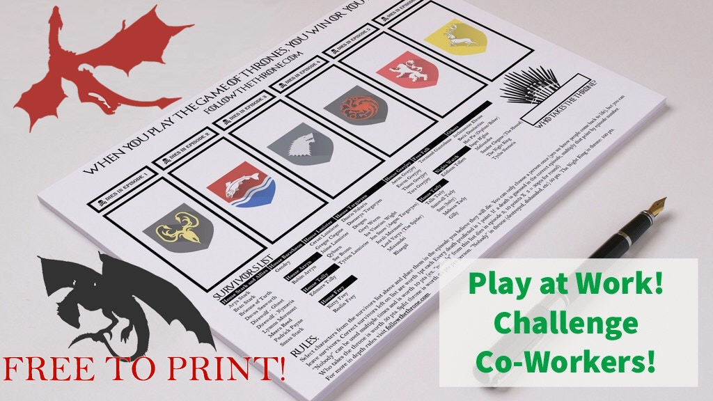 Free to Print & Play - Game of Thrones Season 8 Bracket 2019 project video thumbnail
