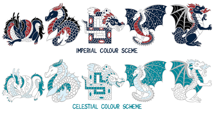 Both the Imperial and Celestial sets have already been unlocked and will be available for all backers to choose from! The Celestial dragons feature glitter on the white enamel to add that extra special sparkle.