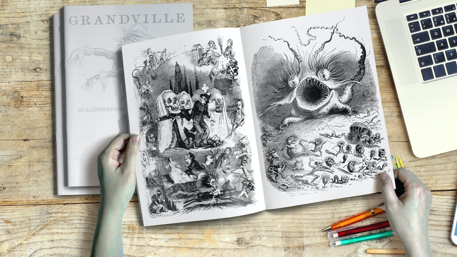 The unbelievable surreal and fantastic Illustrations of J.J. Grandville 1803-1847 Now available as Hardcover Book in a Kickstarter Relaunch!