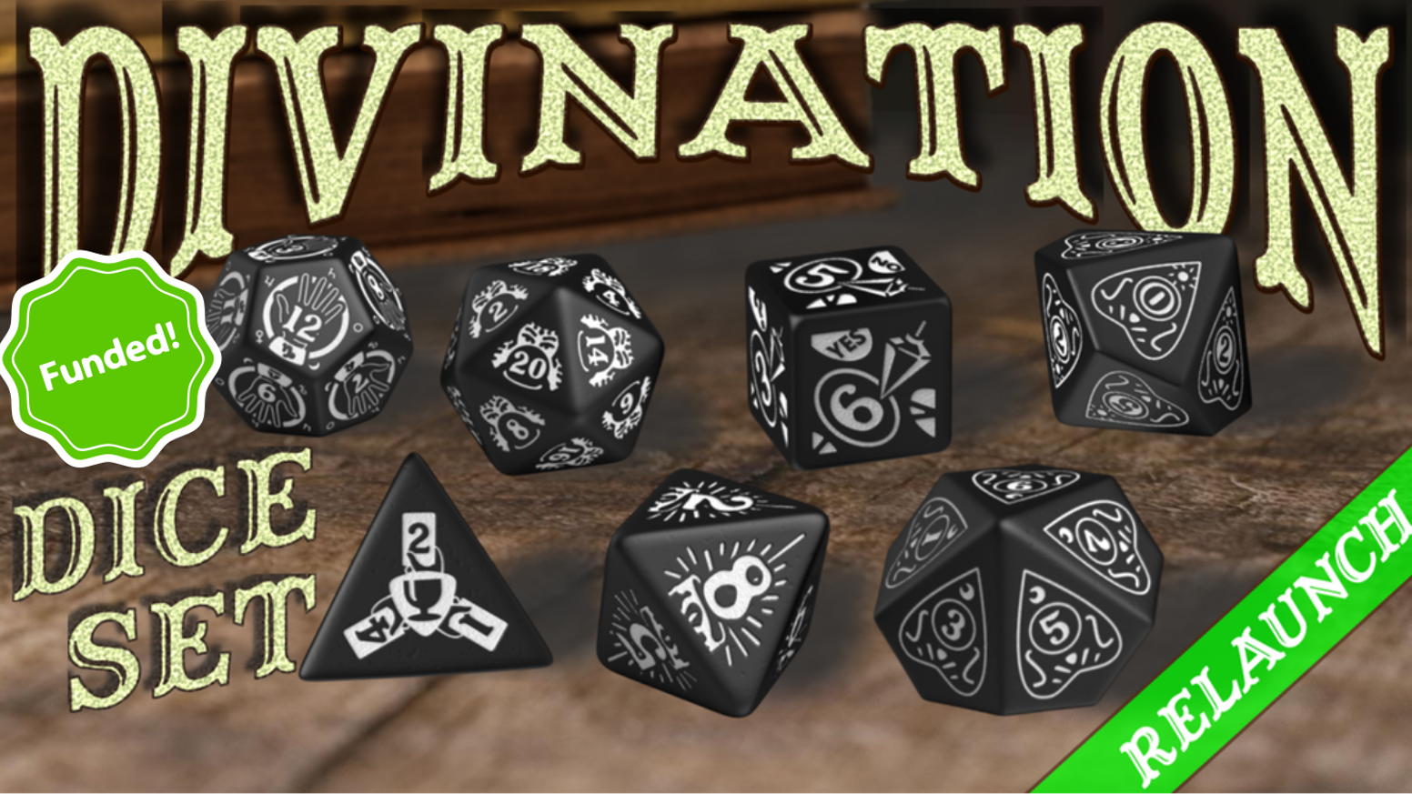 A 7-Piece Divination Themed Dice Set Design by Doug WilsonBox Art By Steve WilsonManufactured by Q-Workshop