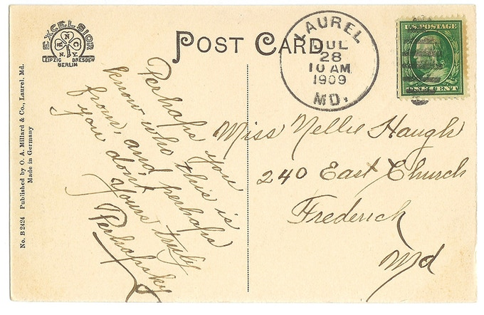 """A card mailed from Laurel nearly 110 years ago... from """"Perhapsky""""."""