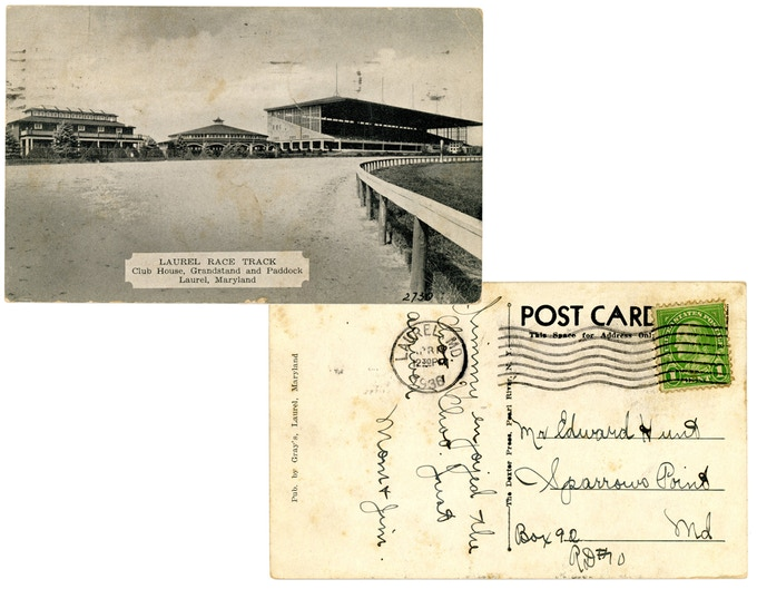 Original postcard from Laurel Race Track, mailed in 1936. For a $75 pledge, you'll receive this postcard plus a signed copy of the book.