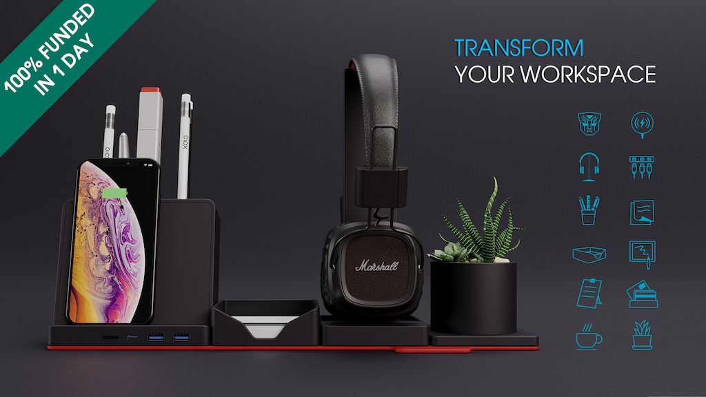 Transformer Desk Organizer with Wireless Charger & USB hub