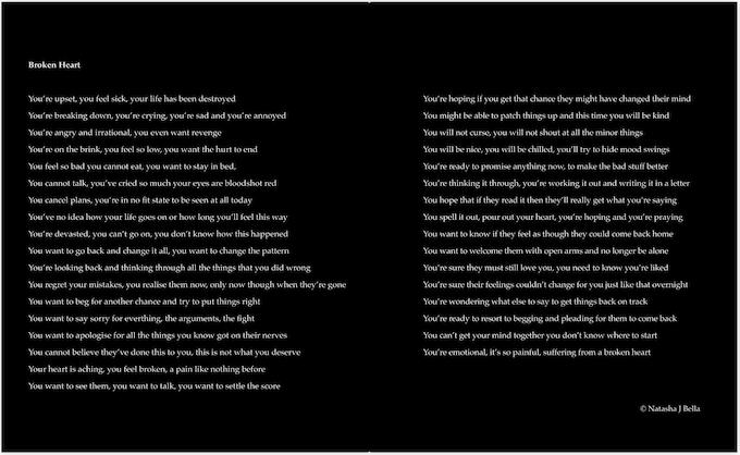 BROKEN HEART poem in the book