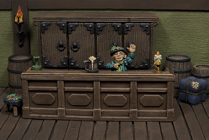 Littleton welcoming patrons in the Prancing Peacock Inn. (Furniture by Mantic, Zealot Miniatures & Tabletop-Art)