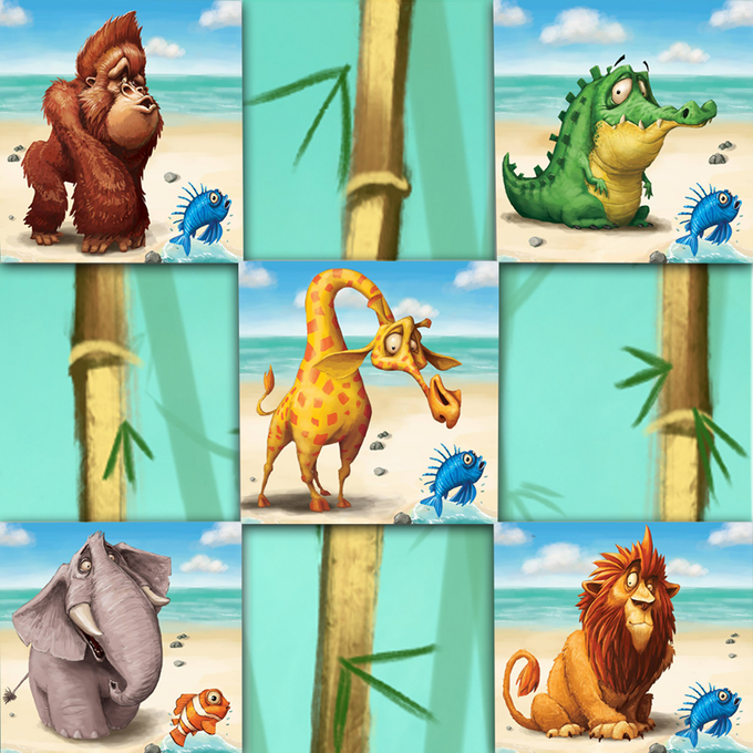 The team avatars. From top left to bottom right: Alex the Gorilla (game designer), Mickael the Crocodile (community manager), Mounir the Giraffe (project manager), Tomek the Elephant (the game illustrator) and Carol Ann the Lion (the game graphic designer)