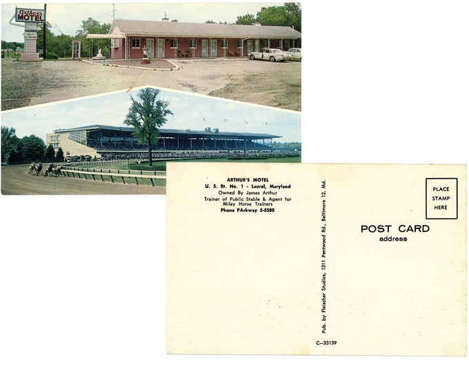 Original 1960s postcard from Arthur's Motel. For a $50 pledge, you'll receive this postcard plus a signed copy of the book.