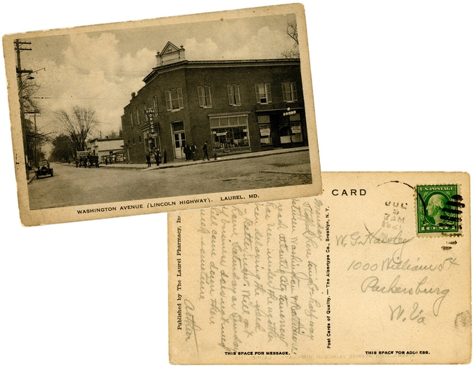 Original 1921 postcard of modern day Washington Blvd. & Main Street. For a $250 pledge, you'll receive this rare postcard plus TWO signed copies of the book.