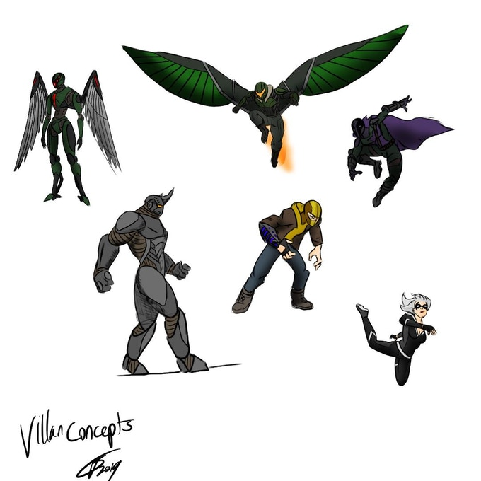 Early villain concepts (Slayer Drone, Vulture, Prowler, Rhino, Shocker and Black Cat)