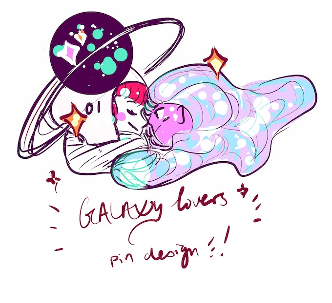 prototype sketch for galaxy lovers pin design!