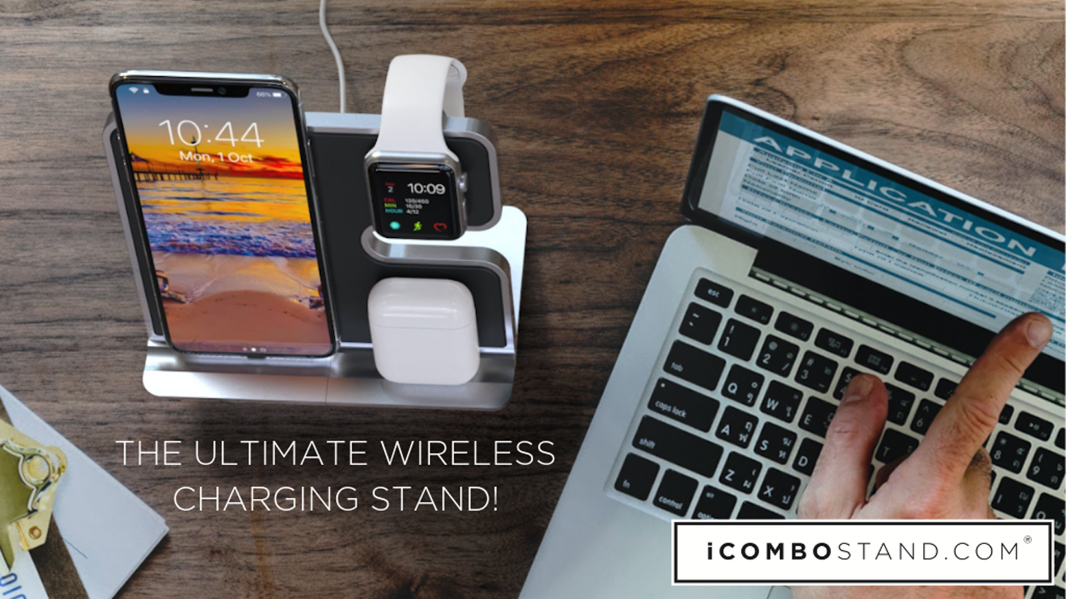 Wireless Qi Charging For Your iPhone, Apple Watch, AirPods With A Bonus USB Port For A Fourth Device. That's Right, Just Place On Stand