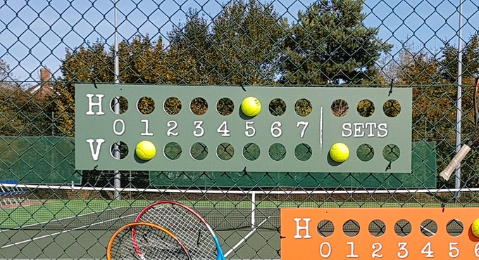 Durable light weight scoreboards for games and sets. This is a prototype in the photograph. The final product will have games marked 0-7 and sets 1,2,3