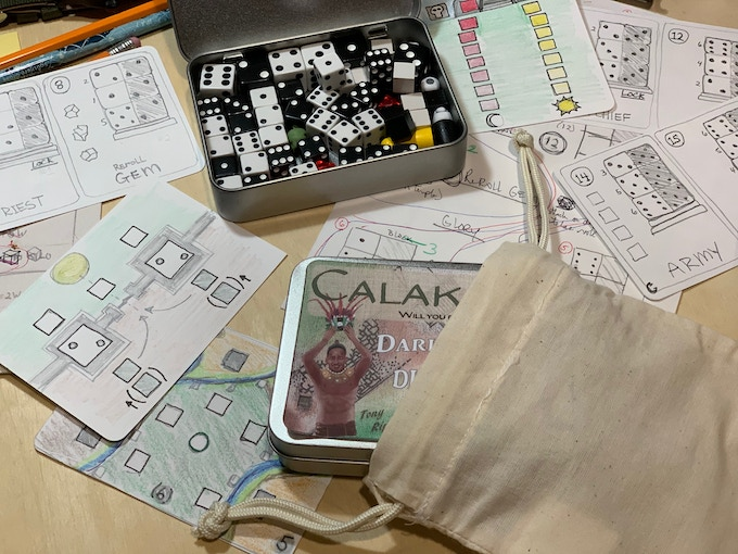 This image shows many of the solo play mini-board prototypes.  Note: the BAG is also not final and is a STRETCH GOAL.