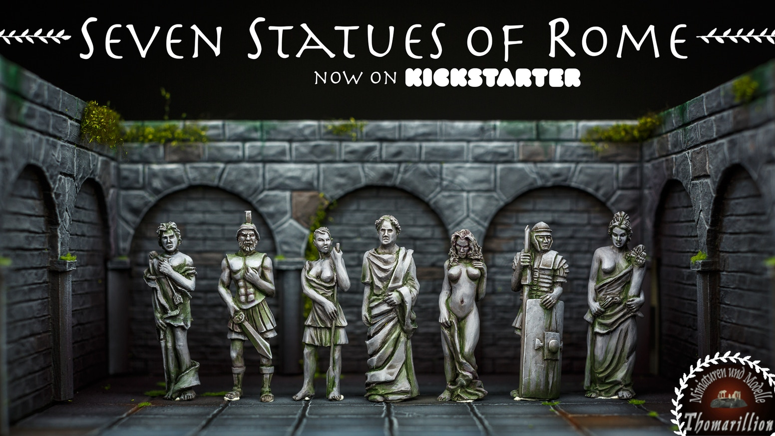 Bring your battlefield to life! Raise monuments to honor those you owe it! This is a set of 7 roman statues fitting 28mm and many ages.