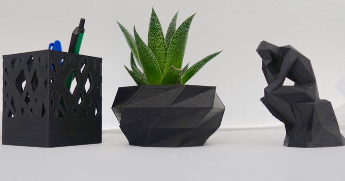 Decorative objects printed with Nefila HIPS
