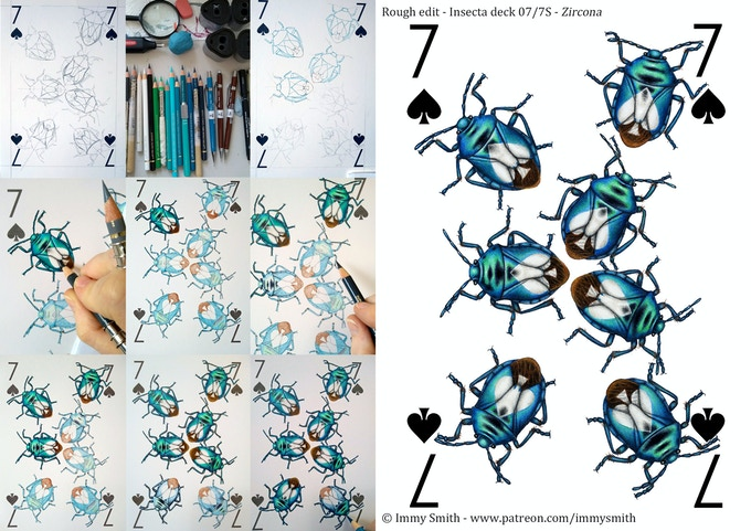 A WIP series and the finished drawing for the 7 of Spades, featuring shiny metallic blue shield bugs