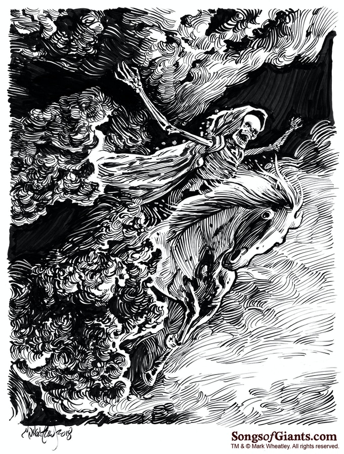"Mark Wheatley original art for ""Dreaming on Downs"" by Robert E. Howard"