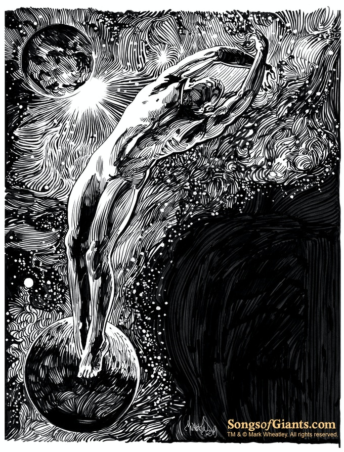 "Mark Wheatley original art (light) for ""Astrophobos"" by H. P. Lovecraft"